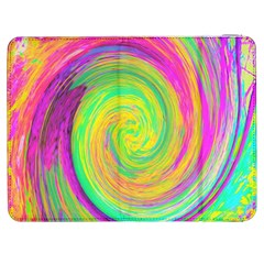 Groovy Abstract Purple And Yellow Liquid Swirl Samsung Galaxy Tab 7  P1000 Flip Case