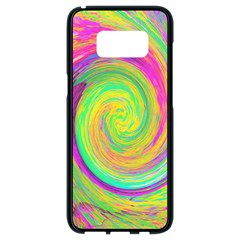 Groovy Abstract Purple And Yellow Liquid Swirl Samsung Galaxy S8 Black Seamless Case by myrubiogarden