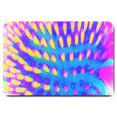 Pink, Blue And Yellow Abstract Coneflower Large Doormat