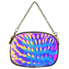 Pink, Blue And Yellow Abstract Coneflower Chain Purse (one Side) by myrubiogarden