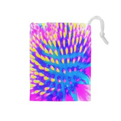 Pink, Blue And Yellow Abstract Coneflower Drawstring Pouch (medium) by myrubiogarden