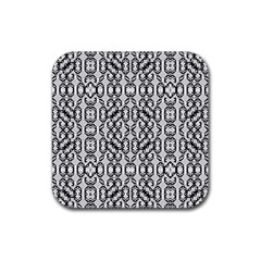 Black And White Intricate Modern Geometric Pattern Rubber Coaster (square)  by dflcprintsclothing