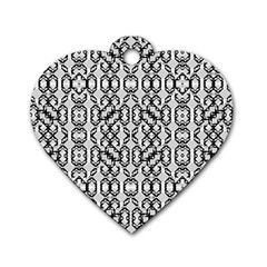 Black And White Intricate Modern Geometric Pattern Dog Tag Heart (one Side)