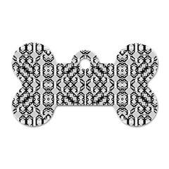 Black And White Intricate Modern Geometric Pattern Dog Tag Bone (two Sides) by dflcprintsclothing
