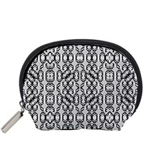 Black And White Intricate Modern Geometric Pattern Accessory Pouch (small) by dflcprintsclothing
