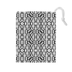 Black And White Intricate Modern Geometric Pattern Drawstring Pouch (large) by dflcprintsclothing