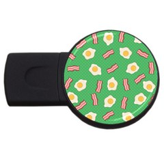 Bacon And Egg Pop Art Pattern Usb Flash Drive Round (2 Gb)