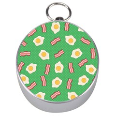 Bacon And Egg Pop Art Pattern Silver Compasses by Valentinaart