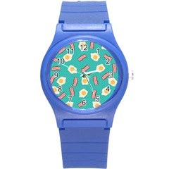 Bacon And Egg Pop Art Pattern Round Plastic Sport Watch (s)