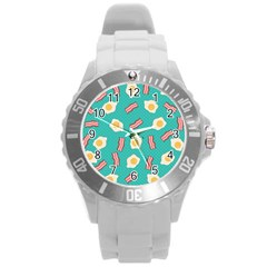Bacon And Egg Pop Art Pattern Round Plastic Sport Watch (l)