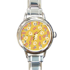 Bacon And Egg Pop Art Pattern Round Italian Charm Watch