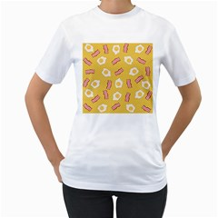 Bacon And Egg Pop Art Pattern Women s T Shirt (white) (two Sided)