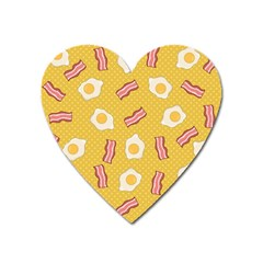 Bacon And Egg Pop Art Pattern Heart Magnet