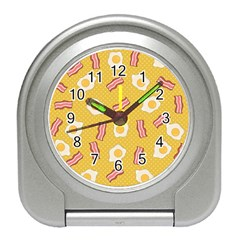 Bacon And Egg Pop Art Pattern Travel Alarm Clock