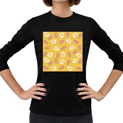 Bacon And Egg Pop Art Pattern Women s Long Sleeve Dark T Shirt