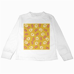 Bacon And Egg Pop Art Pattern Kids Long Sleeve T Shirts