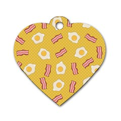 Bacon And Egg Pop Art Pattern Dog Tag Heart (two Sides)