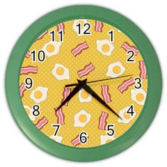 Bacon And Egg Pop Art Pattern Color Wall Clock