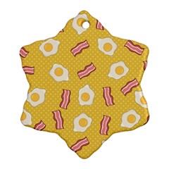 Bacon And Egg Pop Art Pattern Snowflake Ornament (two Sides)