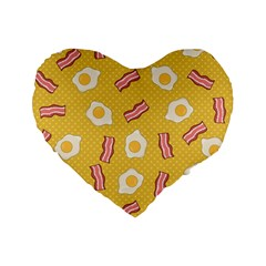 Bacon And Egg Pop Art Pattern Standard 16  Premium Flano Heart Shape Cushions