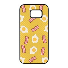 Bacon And Egg Pop Art Pattern Samsung Galaxy S7 Edge Black Seamless Case