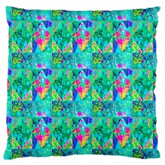 Garden Quilt Painting With Hydrangea And Blues Standard Flano Cushion Case (two Sides) by myrubiogarden