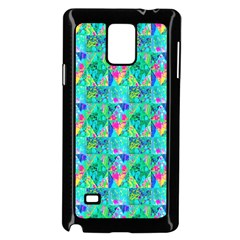 Garden Quilt Painting With Hydrangea And Blues Samsung Galaxy Note 4 Case (black) by myrubiogarden