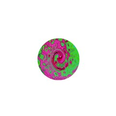 Groovy Abstract Green And Red Lava Liquid Swirl 1  Mini Buttons by myrubiogarden