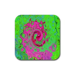 Groovy Abstract Green And Red Lava Liquid Swirl Rubber Square Coaster (4 Pack)  by myrubiogarden
