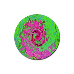 Groovy Abstract Green And Red Lava Liquid Swirl Rubber Coaster (round)  by myrubiogarden