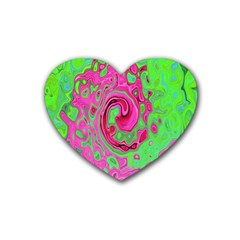 Groovy Abstract Green And Red Lava Liquid Swirl Rubber Coaster (heart)  by myrubiogarden