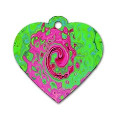 Groovy Abstract Green And Red Lava Liquid Swirl Dog Tag Heart (one Side) by myrubiogarden