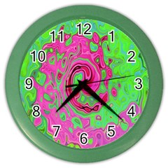Groovy Abstract Green And Red Lava Liquid Swirl Color Wall Clock by myrubiogarden