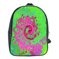 Groovy Abstract Green And Red Lava Liquid Swirl School Bag (large) by myrubiogarden
