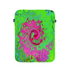Groovy Abstract Green And Red Lava Liquid Swirl Apple Ipad 2/3/4 Protective Soft Cases by myrubiogarden