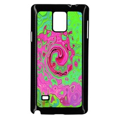 Groovy Abstract Green And Red Lava Liquid Swirl Samsung Galaxy Note 4 Case (black) by myrubiogarden