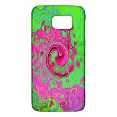 Groovy Abstract Green And Red Lava Liquid Swirl Samsung Galaxy S6 Hardshell Case  by myrubiogarden
