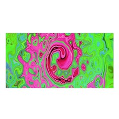 Groovy Abstract Green And Red Lava Liquid Swirl Satin Shawl by myrubiogarden