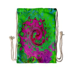 Groovy Abstract Green And Red Lava Liquid Swirl Drawstring Bag (small) by myrubiogarden