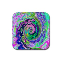 Groovy Abstract Aqua And Navy Lava Liquid Swirl Rubber Square Coaster (4 Pack)  by myrubiogarden