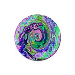 Groovy Abstract Aqua And Navy Lava Liquid Swirl Rubber Coaster (round)  by myrubiogarden