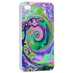 Groovy Abstract Aqua And Navy Lava Liquid Swirl Apple Iphone 4/4s Seamless Case (white) by myrubiogarden