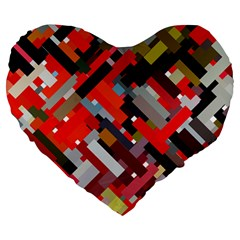 Maze Mazes Fabric Fabrics Color Large 19  Premium Heart Shape Cushions by Pakrebo
