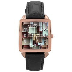 Texture Artwork Mural Murals Art Rose Gold Leather Watch  by Pakrebo