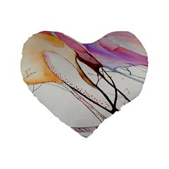 Art Painting Abstract Canvas Standard 16  Premium Heart Shape Cushions