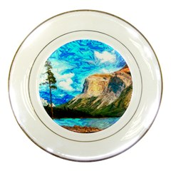 Painting Paintings Mountain Porcelain Plates by Pakrebo