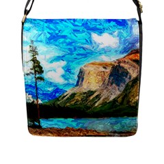 Painting Paintings Mountain Flap Closure Messenger Bag (l) by Pakrebo