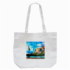 Painting Paintings Mountain Tote Bag (white) by Pakrebo