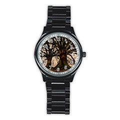 Ent Treant Trees Tree Bark Barks Stainless Steel Round Watch