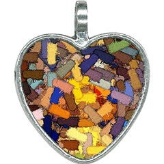 Texture Painting Plot Graffiti Heart Necklace